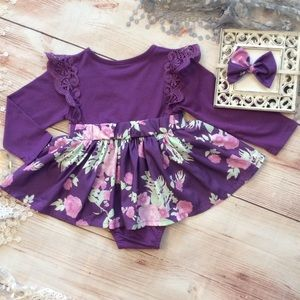 Other - Boutique Baby Girl Purple & floral Dress romper